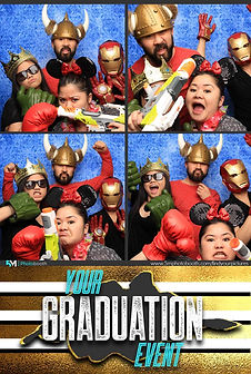 Blue Backdrop Graduation Photo Booth Pose