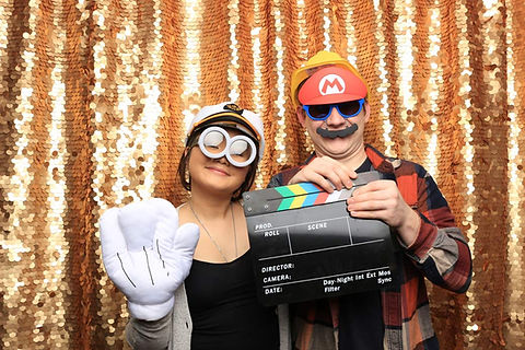 Gold Sequins Backdrop Photo Booth Pose