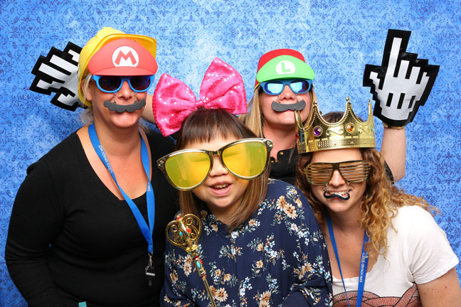 photo booth rental in surrey blue backdrop party