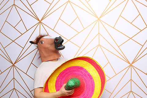 Peach Wreath Backdrop Photo Booth Pose