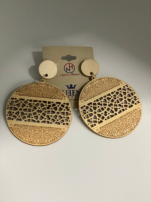 Cream Natural Wooden Earrings