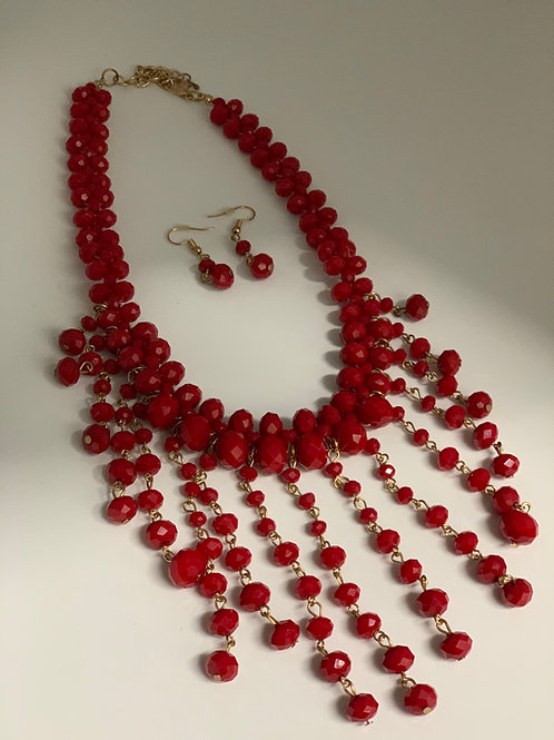 RedBeaded Necklace and Earrings