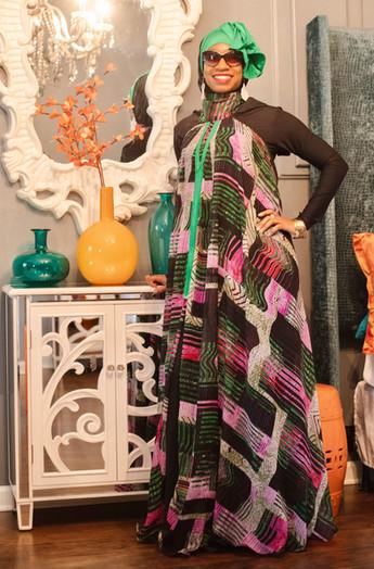 Over lay strip print dress w/scarf Black Jersey Dress w/ scarf