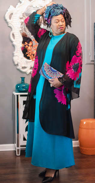 Teal Jersey Dress  Floral Mid length duster  Printed Rectangular Scarf