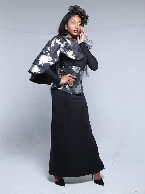 Black and Silver One Shoulder Foral Cape and Dress