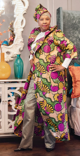 African Print Duster  Gold Sequenced Pants  Long sleeve Patch Word shirt