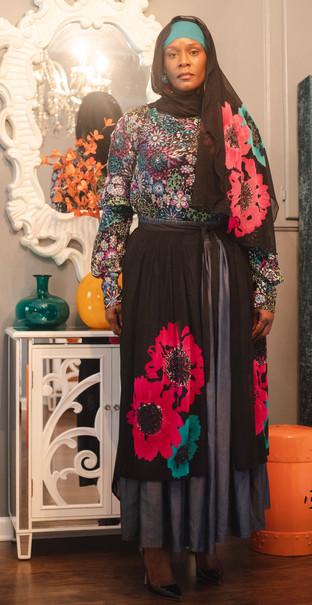 Mini Floral flounce blouse  Denim Skirt  Floral Black sheer overlay  Floral Black Scarf