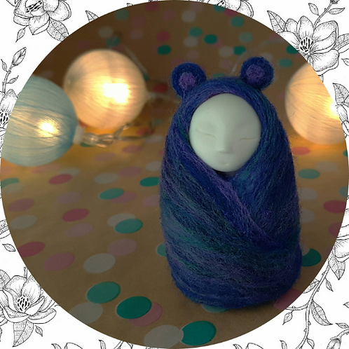 Animal Spirit doll for unconditional love felted in blue, purple and green