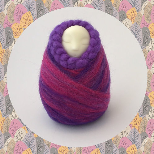 Womb Dreamer fertility doll felted in pink and purple colours