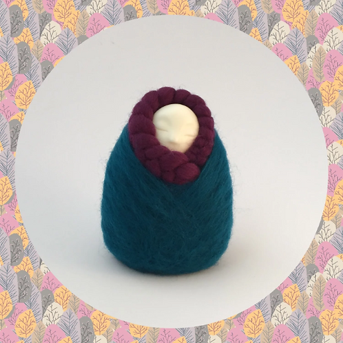 Womb Dreamer fertility doll felted in teal and plum colours