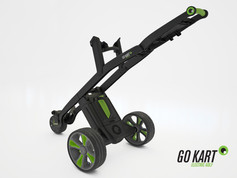 Rendered images of the battery powered Go Kart gold trolley.