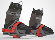 Skia Ski Trainer shown in place on ski boots.