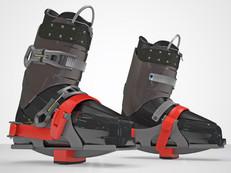Skia Ski Trainer shown in place on ski boots.