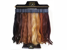 Gold Class hair extension colour swatches with stand.
