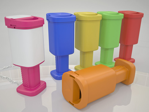 Charity box design with tamper evident seals.