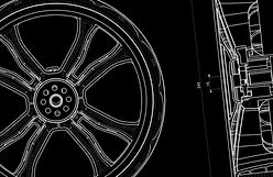 Detailed cad drawing of a wheel on a black background