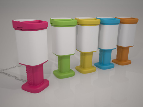 Charity box design with tamper evident seals. Benefits from single part moulded base.
