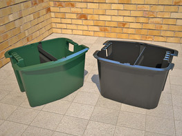 Wheelie bin inner caddy used for separating items from the main space inside a recycling bin