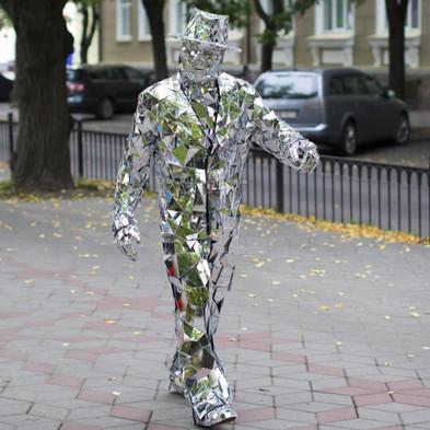 Statua vivente specchi - mirror man