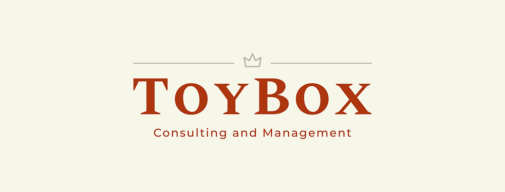 ToyBox Consulting Logo. Red with and cream with a little crown