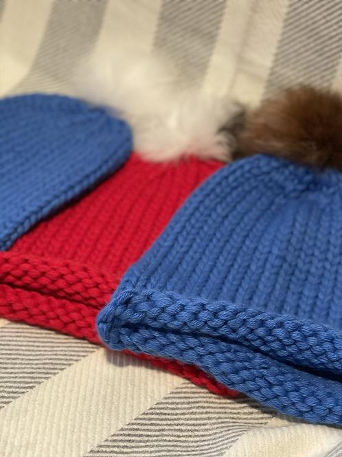Chunky Knit Fur Pom Pom Hat
