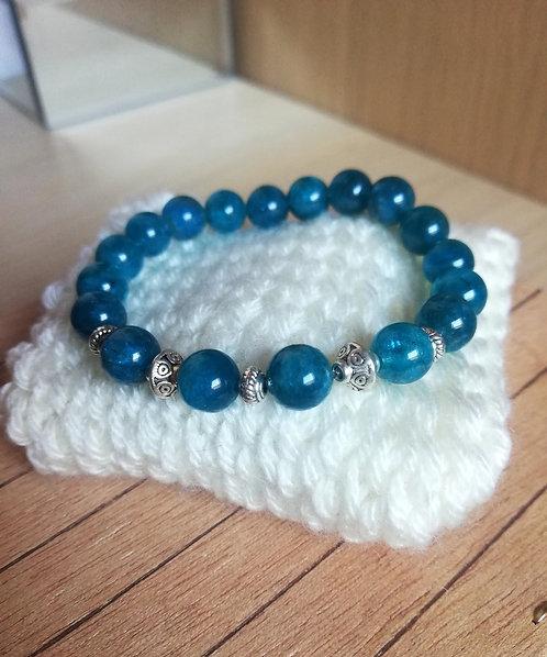 Bracelet en Apatite A, perles de 8mm