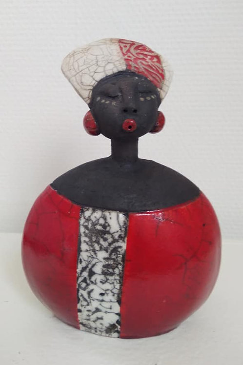 Sculpture doudou africaine raku Sandrine Sueres