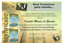 """Participação no projeto literário """"Coletânea Literária Internacional Bilíngue - Sem fronteiras pelo"""