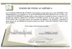 Termo de Posse Acadêmica como membro correspondente, na Cadeira n° 24, da Academia de Artes, Ciência