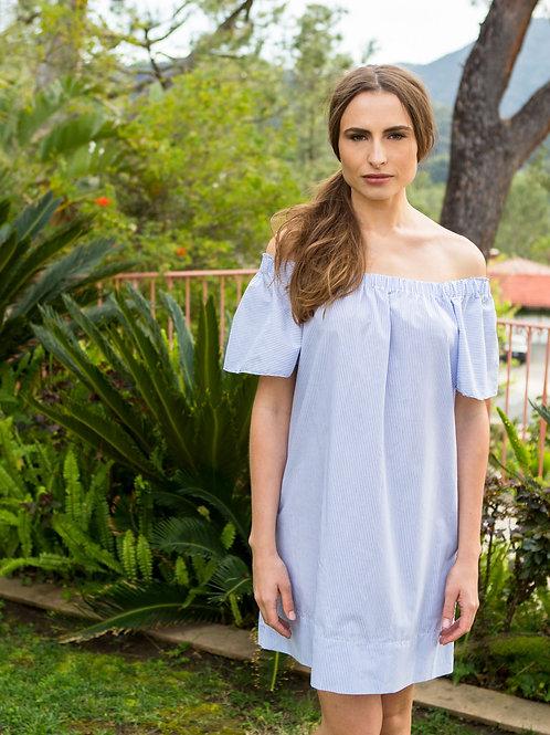 MALLORCA- Striped Off-The-Shoulder Dress