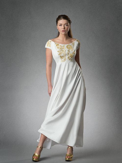 ROSINE Goldwork Embroidered Decolette Dress