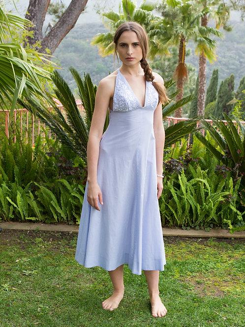 MALLORCA- Striped Cross Back Midi Dress