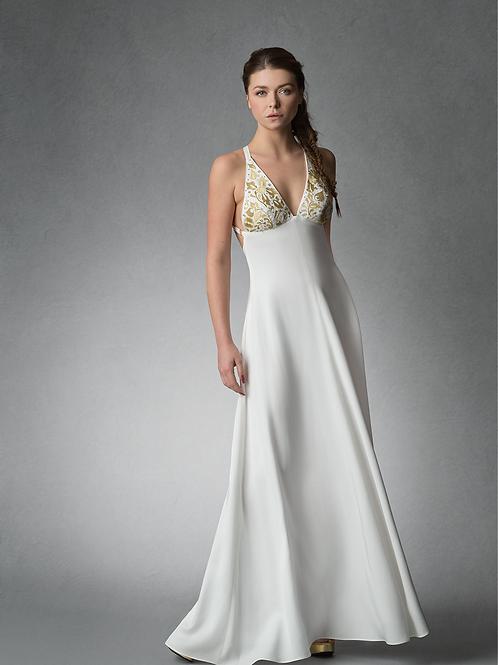 ROSINE Goldwork Embroidered Open Back Dress