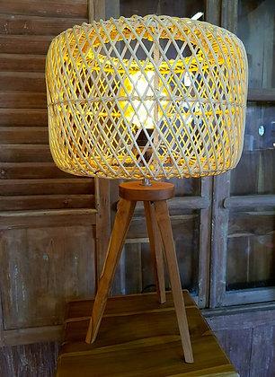 Lampe trépied rotin
