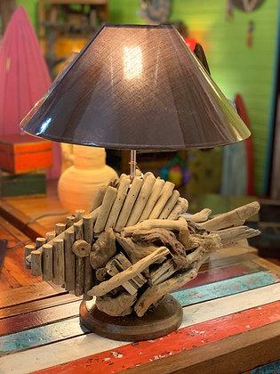 Lampe poisson bois flotté