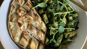 Vegan kale pesto with eggplant steak