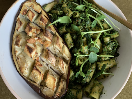 Vegan kale pesto with eggplant steak
