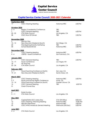 2020-21 Capital Service Center Council Calendar