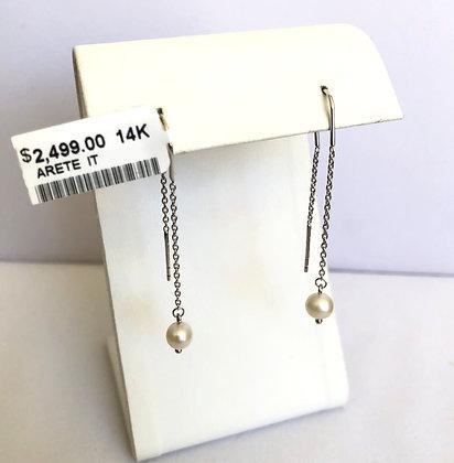 Aretes largos oro blanco y perla