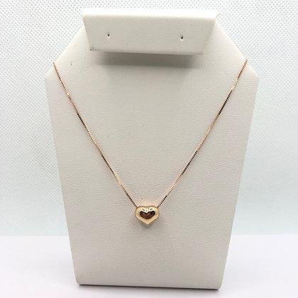 Gargantilla de corazón oro rosa 14k