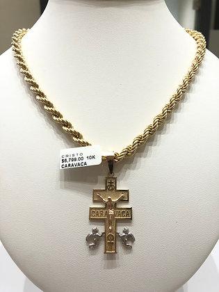 Dije cruz de Caravaca oro 10k
