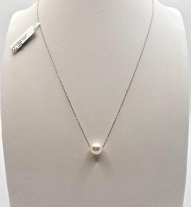 Gargantilla perla oro blanco 14k