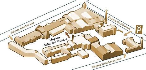 Hier finden Sie den Salon der Wunder in der Kulturbrauerei Berlin. Übersichtlicher LAgeplan mit Eingängen und Parkhauszufahrt