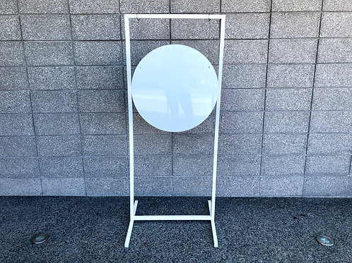 White hanging Welcome Sign with Custom Decals