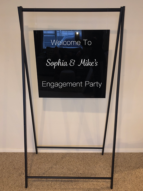 Black hanging Welcome Sign with Custom Decals