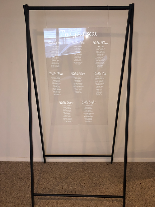 Hanging Seating Plan/Welcome Sign with Custom Decals