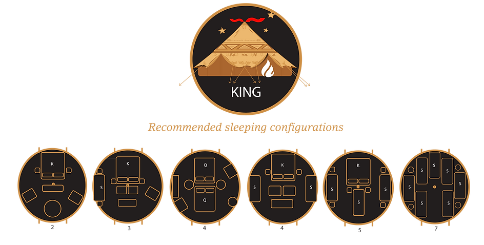 Glamacamp Glamping King Sleeping configurations