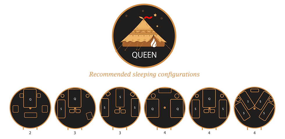 Glamacamp Glamping Queen Sleeping configurations