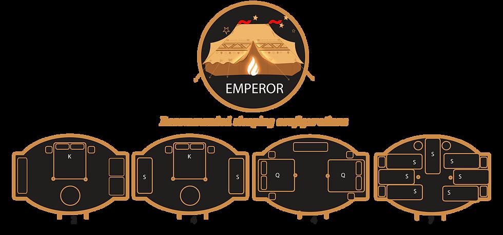 Glamacamp Glamping Emperor Sleeping configurations