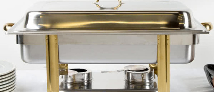 Party Rental Store Deluxe 8 Qt. Full Size Gold Accent Chafer